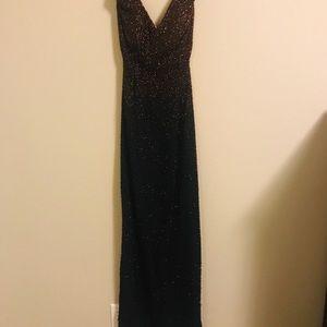 SCALA Vintage Black Gold Double Slit Gown